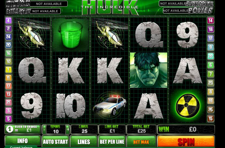 Видеослот Incredible Hulk от Playtech