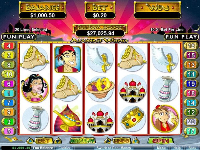 Aladdin's Wishes slot game from Realtime Gaming