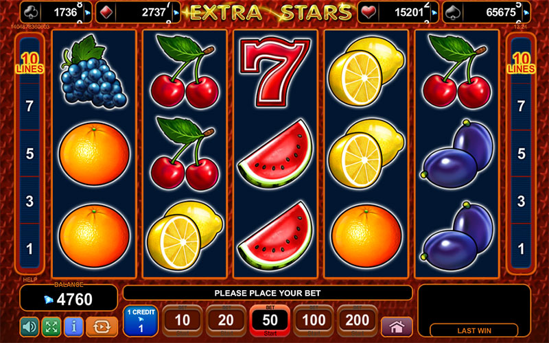 HTML5 online slot machine from EGT - Extra Stars