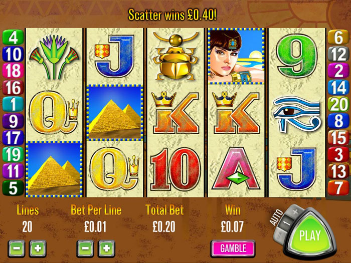 Queen of the Nile slot machine from Aristocrat